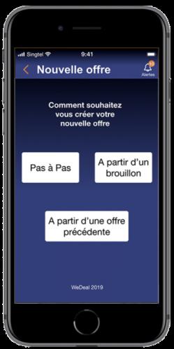 écran commerçant nouvelles offres app wedeal