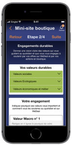 écran commerçant engagements durables app wedeal